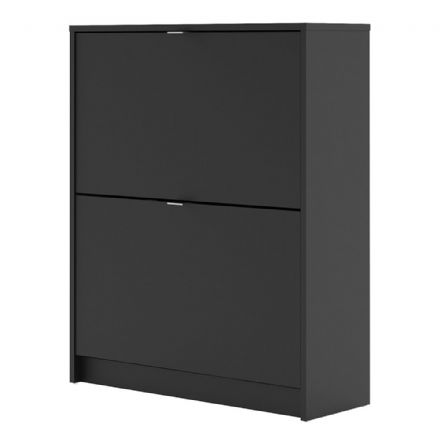 Shoes Shoe cabinet w. 2 tilting doors and 2 layers in Matt Black